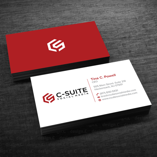 Design a modern business card for C-Suite Social Media