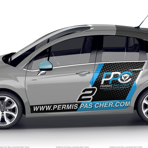 car wrap design for permis pas cher com signage contest. Black Bedroom Furniture Sets. Home Design Ideas