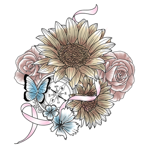 Illustration Tattoo With Butterfly Flowers And A Breast Cancer
