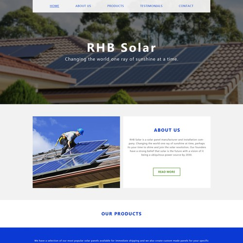 Solar Panel Website | Web page design contest