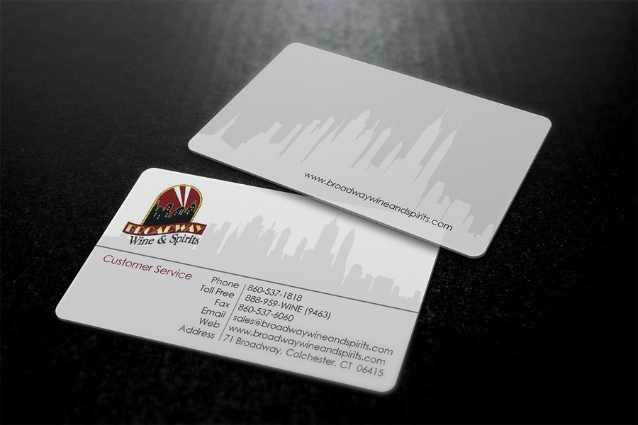 Create a winning business card for Broadway Wine & Spirits ...