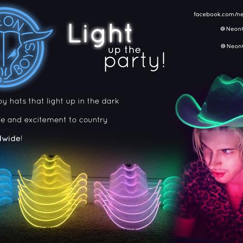 b4d93ec8e Vibrant and Fun Banner for Neon Cowboy Hat Company   Postcard, flyer ...