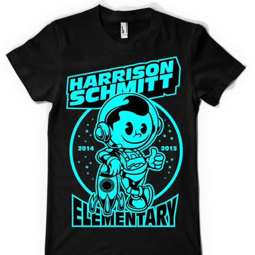 Create an elementary school t-shirt design that includes an astronaut Design by ABP78