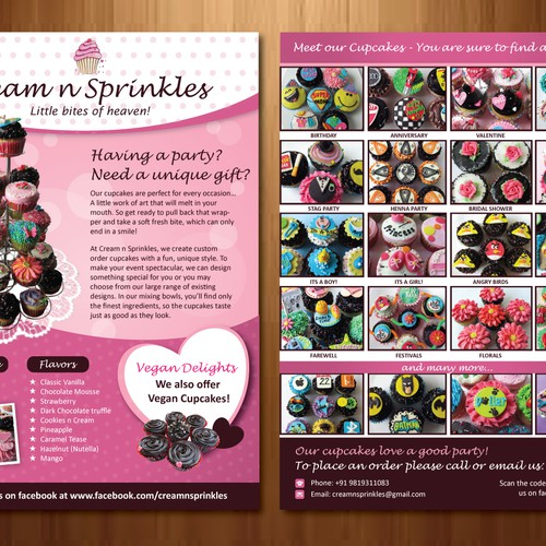 Cupcake Flyer for Cream n Sprinkles Design by rumster