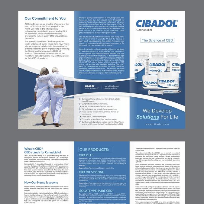 create a brochure for cibadol high cbd hemp oil products