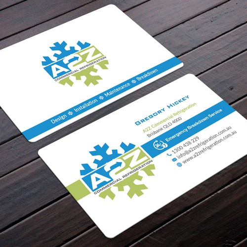 A2z commercial refrigeration business card business card contest runner up design by felix sh colourmoves
