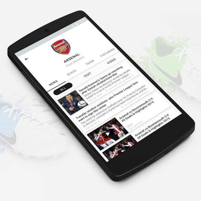 Create UI for iOS and Android App for football news