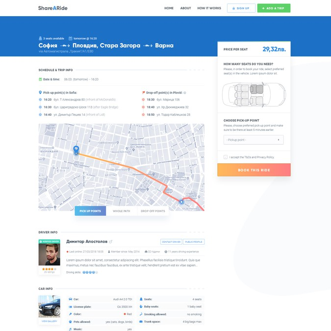 Design for Carpool website / Share a Ride | Web page design