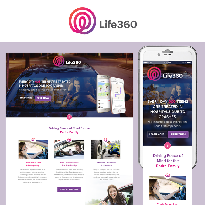 Design a landing page for Life360's DriverProtect | Landing