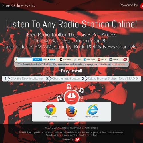 Free Online Radio Landing Page   Landing page design contest