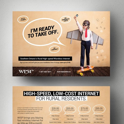 Create a stunning and mind blowing new marketing postcard for our Rural Internet Service Design by Adwindesign