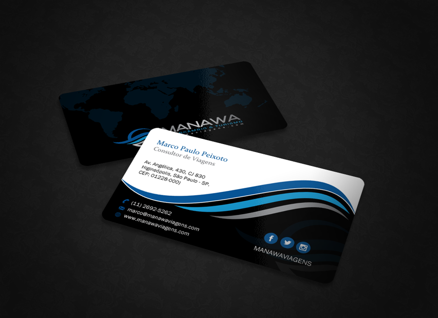 Please create a great Business Card design for travel agency Manawa ...