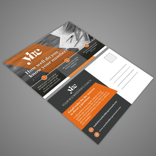 Fun postcard/flier marketing bookkeeping support to general contractors Design by Dzhafir