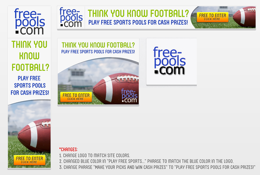 Banner Ads required for free-pools com | Banner ad contest