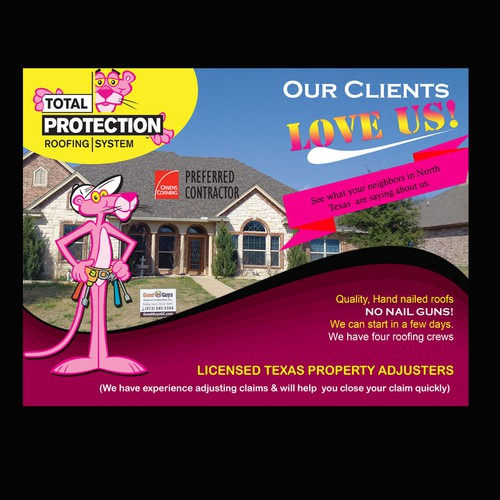 Roofing Company Direct Mailer Pink Panther Postcard