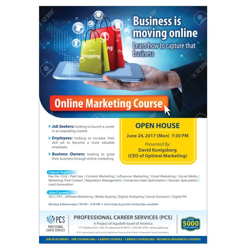 Flyer for PCS Online Marketing Course | Postcard, flyer or