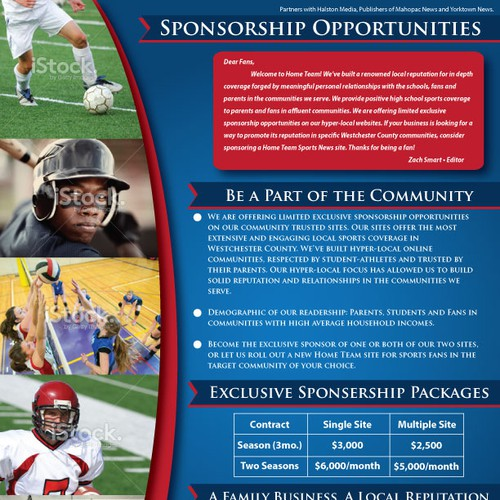 Create a Sponsorship brochure for a local sports news outlet ...