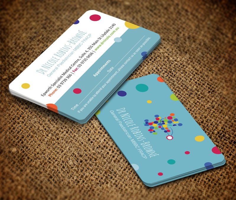 Design a fun, professional business card for a paediatrician ...
