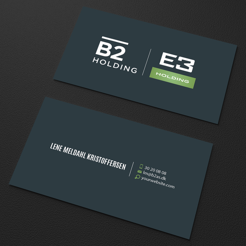 Business card for b2 holdinge3 holding both 2 logos at the same design finalista por an designer reheart