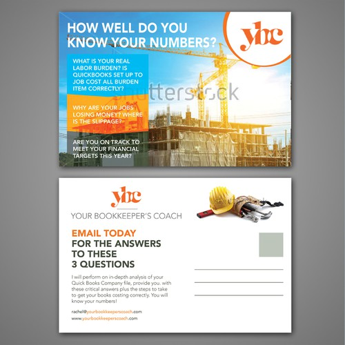 Fun postcard/flier marketing bookkeeping support to general contractors Design by #G AfreenGraphic