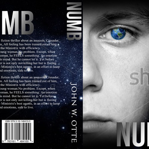 Most Creative Book Cover ~ Numb an explosive science fiction thriller needs your