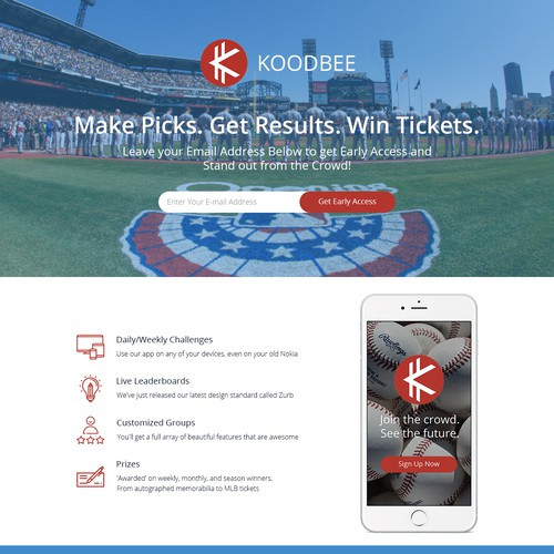 Create fun, simple prelaunch LP for Baseball App that gives tickets