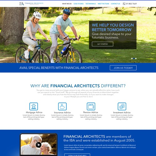 Lifestyle Financial Planning Website Needed Web Page Design Contest