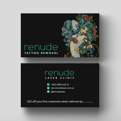 Design business card for tattoo laser removal business for Tattoo removal business