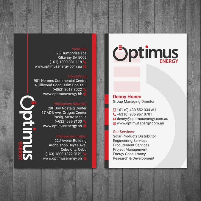 Optimus Energy New Business Card  | Business card contest