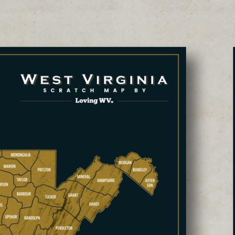 Localized Scratch Map Poster for West Virginia, USA | Poster Wettbewerb