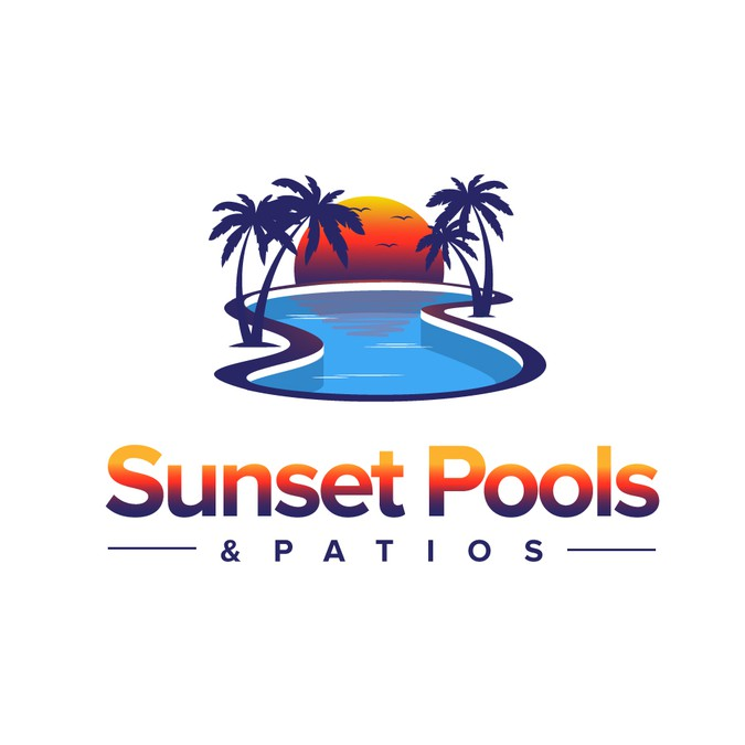 Sunset Palm Tree Amp Pool Logo For Swimming Pool