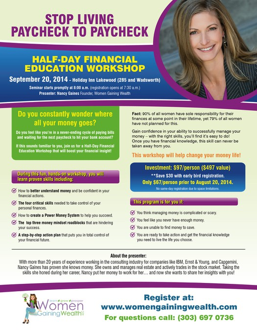Flyer To Promote A Fun Energetic Financial Seminar Stop Living
