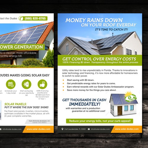 Compelling Solar Flyer And Door Hanger For Homeowners
