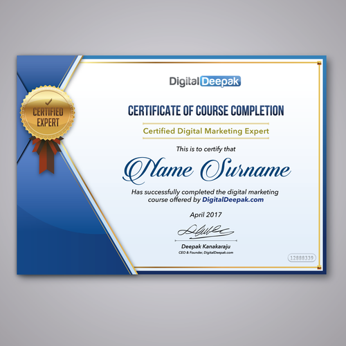 Create a certificate design for an online course other design contest runner up design by fredostyle altavistaventures Image collections