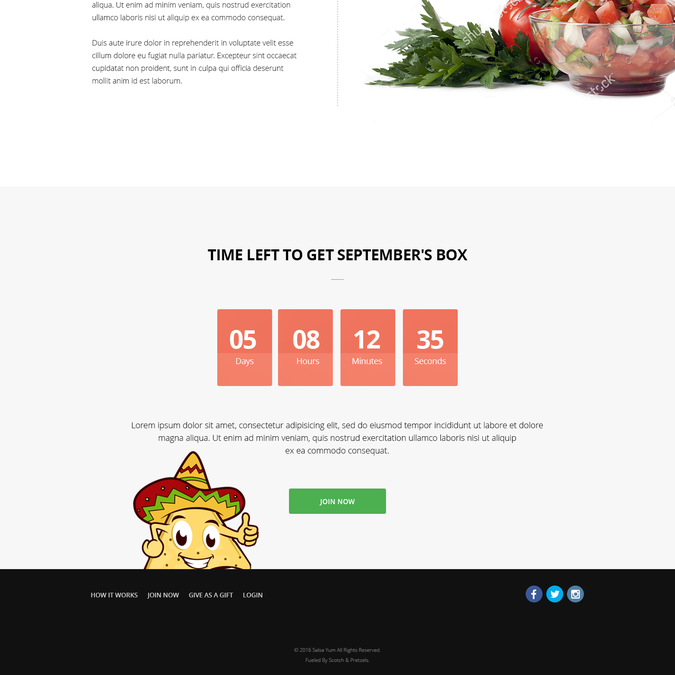 Landing Page Design For New Subscription Box Company Salsa Yum Landing Page Design Contest