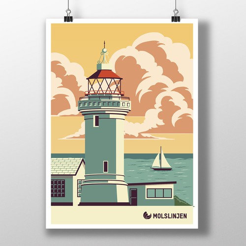 Multiple Winners - Classic and Classy Vintage Posters National Danish Ferry Company Design by austinminded