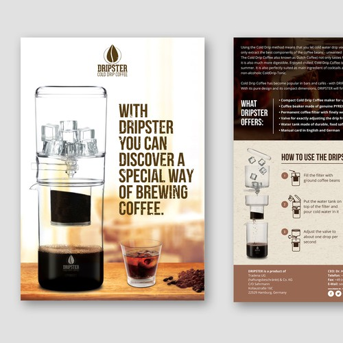 DRIPSTER Cold Drip Coffee Maker - we need a product presentation flyer Design by Sidaddict