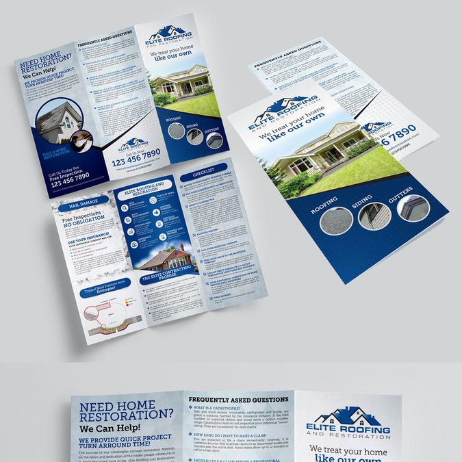 create an eye catching informative brochure for a roofing company
