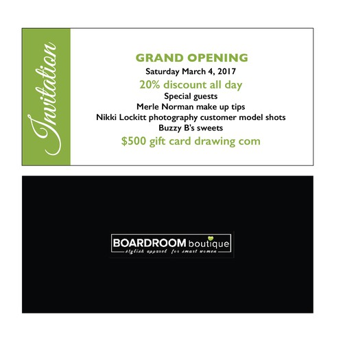 Boutique grand opening invitation card or invitation contest runner up design by victoriyamuza stopboris Gallery
