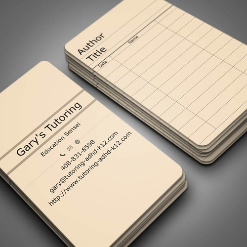 Library themed business cards for tutoring business card contest runner up design by sanjoy kumar paul colourmoves