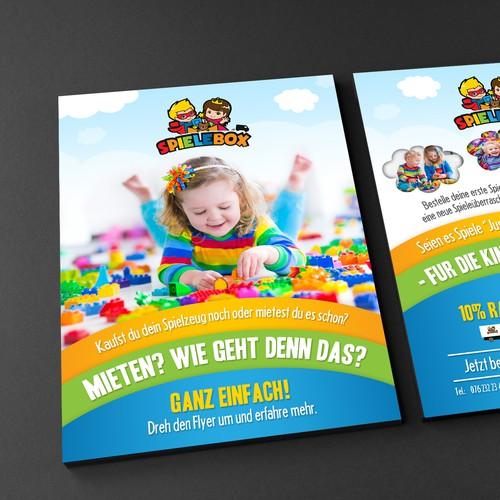 Kreativer Flyer für Kinder und Eltern -> Spieleabo Design by Adwindesign