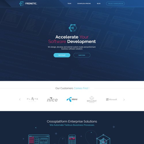 design awesome homepage for fronetic a professional software