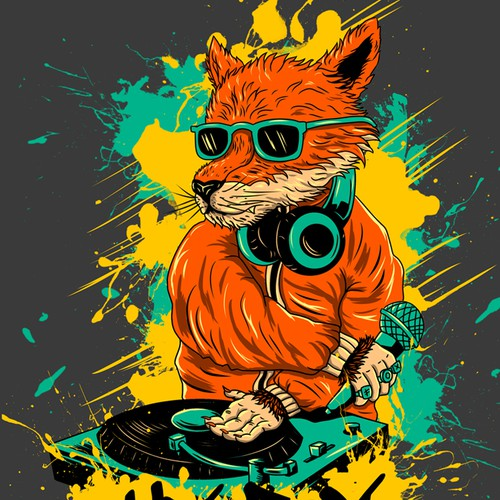 We are looking for a Hip-Hop themed humanoid fox scratching on djstyle turntables. Design by rururara