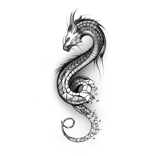 Eye Catching Geometric Dragon Outer Forearm Tattoo Tattoo Contest 99designs This dragon tattoo is kind of creepy, yet kind of cool at the same time. eye catching geometric dragon outer