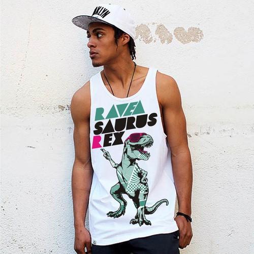 "Create a Dancing Dinosaur Themed Tank Top ""Raveasaurus Rex"" Design by ABP78"