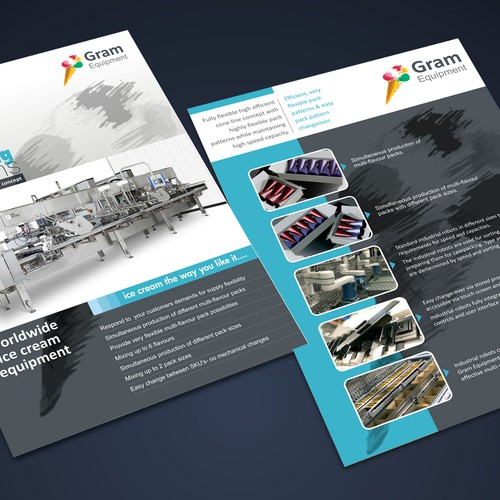 Ice cream equipment manufacturer need A4 leaflet | Postcard, flyer