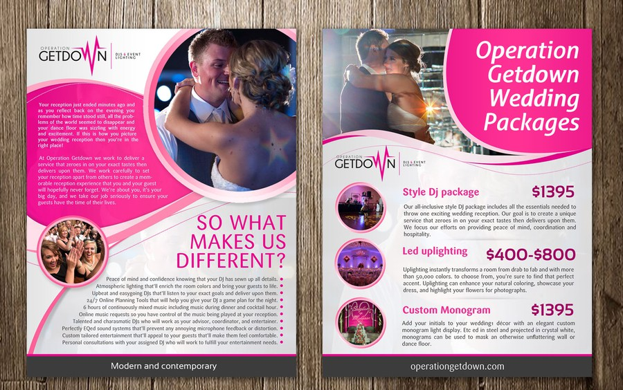 A4 Wedding Dj Flyer Needs Contemporary Flair! | Postcard, Flyer Or