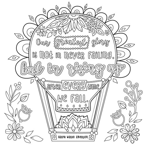 """Create 8x8"""" Hand Lettered Coloring Poster Page Design by agnes design"""