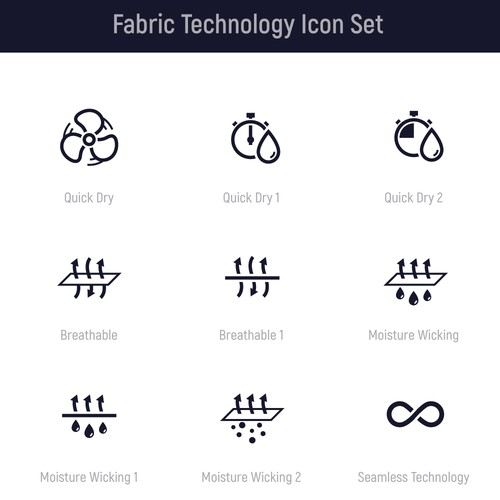 Technical Fabric Icons For Fitness Fashion Brand Icon Or