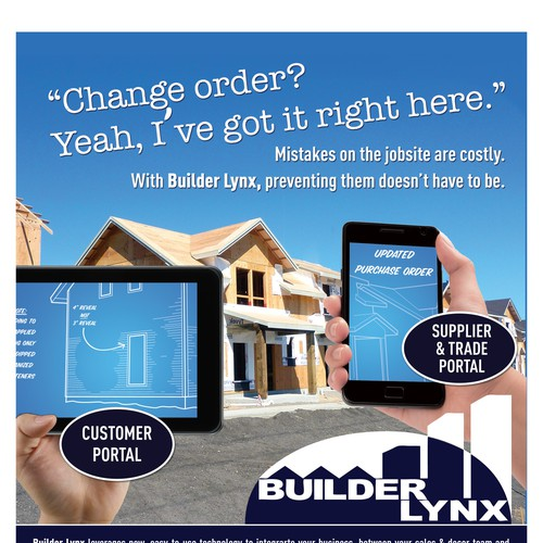 Create an engaging magazine ad showing technology in home for Home builder magazine